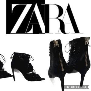 Zara Basic   black suede eyelet tie up booties